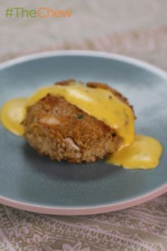 Try your hand at these yummy, filling (and lighter) Crab Cakes with Bearnaise Sauce by Michael Symon! #TheChew