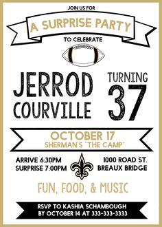 wstoreyshop - original New Orleans Saints themed surprise party invitation