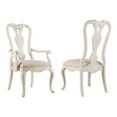 """Splat back side dining chair in distressed whitewash with front cabriole legs.   Product: ChairConstruction Material: Hardwood solids, fabric and knotty cathedral oak veneersColor: Distressed oyster whitewashDimensions: 41.5"""" H x 21"""" W x 18"""" D"""