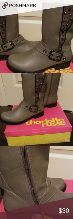 Ankle boots New In Box! Charlotte russe, cute stud boots with inside zipper. Charlotte Russe Shoes Ankle Boots & Booties