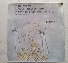 The Pages In My Soul. Original Art Illustration Collage. Ray Bradbury Quote