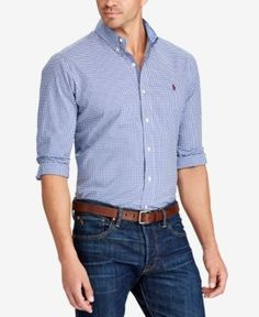 390672a4d Polo Ralph Lauren Men s Big   Tall Gingham Classic-Fit Poplin Shirt    Reviews - Casual Button-Down Shirts - Men - Macy s