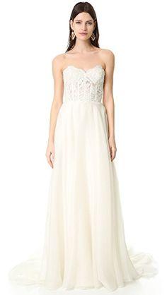 Reem Acra Alia Strapless Lace Gown