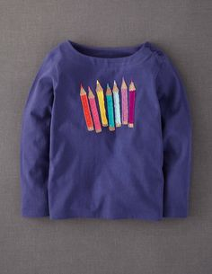 Almost all mini Boden fall tops have pink and/or girly graphics, but I found this one for your little artist!  For more options, check out their boy tees.  Sizes 2-14.