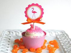Pink Flamingo and orange jelly beans with a yummy cupcake!
