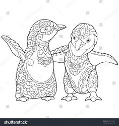 Coloring page of young emperor penguins, isolated on white background. Freehand sketch drawing for adult antistress colouring book with doodle and zentangle elements.