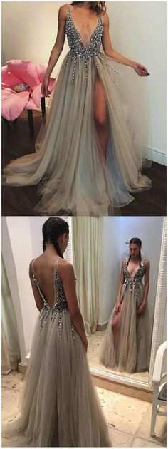 Gray A-line Prom Dress,Sexy Beaded Prom Dresses ,Tulle