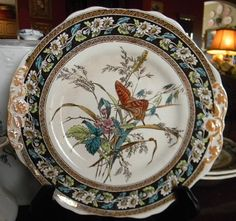 Victorian Aesthetic Movement Daisies and Butterflies ~ Spode Copeland Circa 1880's