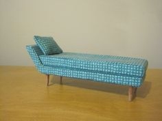 Mid-century Modern Dollhouse Miniature Chaise Lounge 1/12 Scale by ModPodMiniatures on Etsy https://www.etsy.com/listing/213548128/mid-century-modern-dollhouse-miniature