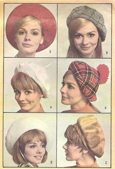 60s McCall's 9448 FOUR BERETS HAT Vintage Sewing Pattern