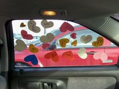 Surprise heart attack...I did this for my husband one year for Valentines day.  He loved it.  Left as many of the heart up as he could for several days. I even hid a few in the glove compartment and inside the visors.  It was fun to keep running across them weeks later