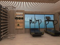 The Striking gym created for Project AEGIR - Scandinavian wood accentuated with sleek black Technogym Equipment. Gym Interior, Yacht Interior, Interior Exterior, Gym Room At Home, Home Gym Decor, Home Gym Design, House Design, Luxury Gym, House Goals