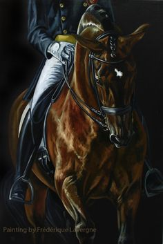 "Handsome Dressage Painting from Chisholm Gallery, LLC    RUBI ALTER REAL by Lavergne, French Contemporary  21""X32""  Oil on canvas  Signed  $1800"