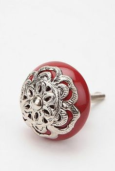Medallion Knob, Red - eclectic - knobs - Urban Outfitters