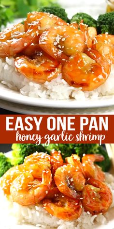 This Easy One Pan Honey Garlic Shrimp is a delicious Asian-inspired meal idea that's made with simple ingredients in 15 minutes or less! recipe videos easy cheap Easy One Pan Honey Garlic Shrimp Shrimp Recipes For Dinner, Shrimp Recipes Easy, Seafood Dinner, Fish Recipes, Easy Dinner Recipes, Seafood Recipes, Asian Recipes, Easy Meals, Cooking Recipes