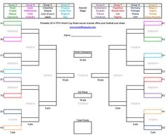 Printable 2014 FIFA World Cup Brazil soccer bracket office pool football pool sheet pdf.