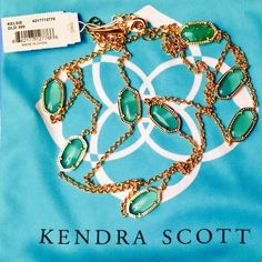 """NWT Kendra Scott Kelsie Necklace Kendra Scott 'Kelsie' Station Necklace - Brightly hued genuine black banded green agate stones dot a long, layerable 18k gold plated station necklace. 36"""" length; 2"""" extender.  Lobster clasp closure.  These stones appear transparent & almost the blue/green of  the  dust bag.  NEVER WORN. Kendra Scott Jewelry Necklaces"""