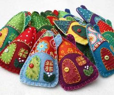 Felt Christmas ornaments, Colorful house ornaments