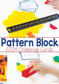 Block STEM Challenge Cards Free Printable These free printable STEM pattern blocks task cards are a great way to involve STEM into your day!These free printable STEM pattern blocks task cards are a great way to involve STEM into your day! Preschool Learning Activities, Stem Activities, Preschool Printables, Kindergarten Stem, Free Printables, Teaching Math, Teambuilding Activities, Stem Preschool, Preschool Shapes