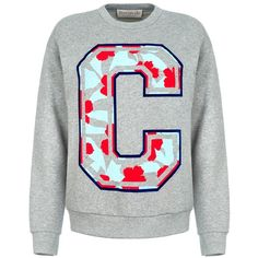 être cécile Big C Floral Boyfriend Sweatshirt (275 BAM) ❤ liked on Polyvore featuring tops, hoodies, sweatshirts, logo sweatshirts, logo top, long sleeve cotton tops, fleece lined sweatshirt and floral tops