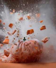 Photographer Martin Klimas was born in 1971 in Lake of Konstanz, Germany. This new series, 'Exploding Vegetables', is created by firing a projectile into different kinds of fruits and ve