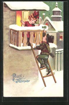Alte Ansichtskarte: AK Prosit Neujahr, Kleiner Schornsteinfeger klettert zu Mädchen