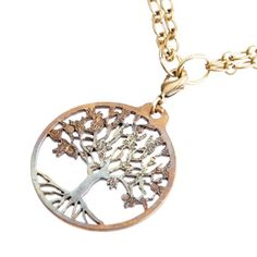 Tree of Life Iridescent Pendant Necklace on 1836 Antiqued Brass Cable Chain -- Want additional info? Click on the image.(This is an Amazon affiliate link and I receive a commission for the sales)
