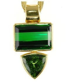 Pendant – Emerald and Trillion Green Tourmalines – 22 kt Yellow Gold