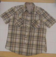 CALVIN KLEIN JEANS Mens shirt Size Large Light Brown plaid cotton Snap front
