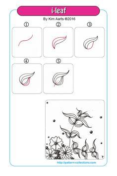 i-leaf Tangle, Zentangle Pattern by Kim Aarts Zentangle Drawings, Doodles Zentangles, Doodle Drawings, Easy Drawings, Doodle Art, Zen Doodle, Doodle Patterns, Zentangle Patterns, Flower Patterns