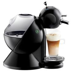 Black Nescafe Dolce Gustos. I have it and yes it does make drinks that look like the picture!!! Better than other coffee makers!