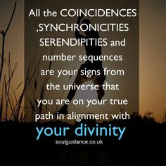 """""""All the coincidences, synchronicities, serendipities and number sequences are your signs from the universe that you are on your true path in alignment with your divinity."""""""