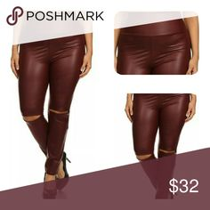 Faux Leather Leggings (XL, 2X, 3X) Faux leather leggings with thick waistband and slashed knee's. Perfect to pair with heels or your favorite pair of Booties. Thank you and Happy Poshing!!! 🌟 1X= 14-16 , 🌟 2X = 18-20, 🌟3X = 20-24 Pants Leggings