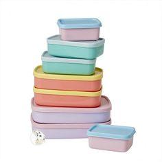 Coelho na Lua - Rice - Kit com 8 potes retangulares em tons pastéis