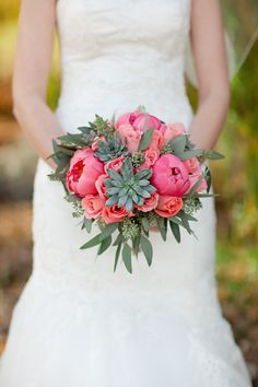 Peony, Rose and Succulent Bouquet -- lavender instead of pink, maybe some ivory/white, maybe incorporate baby's breath