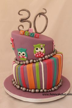 30 years cake. Topsy turvy cake with owls. Made by www.hanneskaker.com 30 Years, How To Make Cake, Owls, Birthday Cake, Cakes, Party, Desserts, Food Cakes, Tailgate Desserts