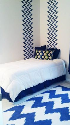 Easy Wall Stenciling Large Herringbone Stencil in two lines | Project by Shelley Phillips
