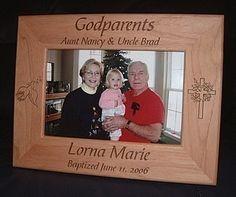 Personalized Engraved Godparents Godfather Godmother Baptism 4x6 Wood Keepsake Gift Frame on Etsy, $18.99