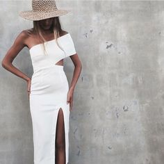 White Bodycon One Shoulder Thigh High Slit