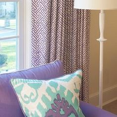 Kerry Hanson Design - girl's rooms - purpel sofa, turquoise ikat pillow…