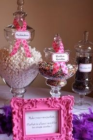 Candy in a jar for centerpieces and you can provide guests with scoops and bags so they can eat candy while they are waiting