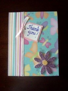 Cute, EASY homemade Thank You card at AMothersShadow.com #craft #card