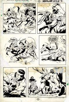 Marvel Comics Super Special #35 / Conan The Destroyer #2 p.15 Comic Art Comic Books Art, Comic Art, Conan The Destroyer, John Buscema, Splash Page, Art Archive, Art Store, Art Auction, Types Of Art