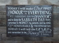 "This is a great reminder of the 10 commandments and great inspiration for all ages! What better way to remind your kids and family how to live?  *""Honour"" is spelled the ""Canadian Way"" but can be ordered to fit your personal taste!"