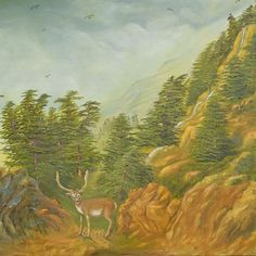 """The Cedar of Lebanon"" by Marwan Kishek. Oil on canvas x Landscape Art, Landscape Paintings, Lebanon, Oil On Canvas, Deer, Rocks, Colours, Artists, Photo And Video"