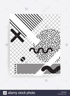 black and white Neo Memphis geometric pattern Stock Photo White Pattern Background, Hipster Pattern, Black And White Design, Photo Black, White Patterns, Memphis, Stock Photos