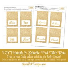 Gold Glitter Printable Party Food Tents - Folding Editable Text Buffet Labels - Name Escort Table Seating Place Cards DIY Wedding Birthday by SprinkledDesigns.com