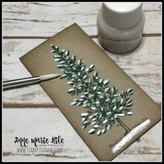 Stampin' Anne: Lovely as a Tree and Shimmer Paints Stamped Christmas Cards, Homemade Christmas Cards, Stampin Up Christmas, Christmas Cards To Make, Xmas Cards, Homemade Cards, Holiday Cards, Christmas Tag, Stampin Up Weihnachten