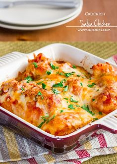 Crockpot Salsa Chicken with cheese – only 3 ingredients, it's embarrassingly easy to make.