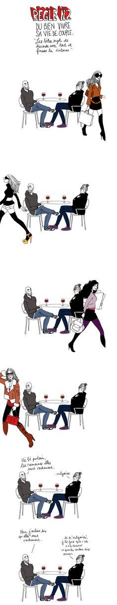 "More illustrations LINE BOTWIN ""lol"" - Règle du Bien vivre sa vie de couple. People Illustration, Illustrations, Character Template, Cool Pictures, Funny Pictures, Beatrix Potter, Rage, Girl Humor, Funny Cute"
